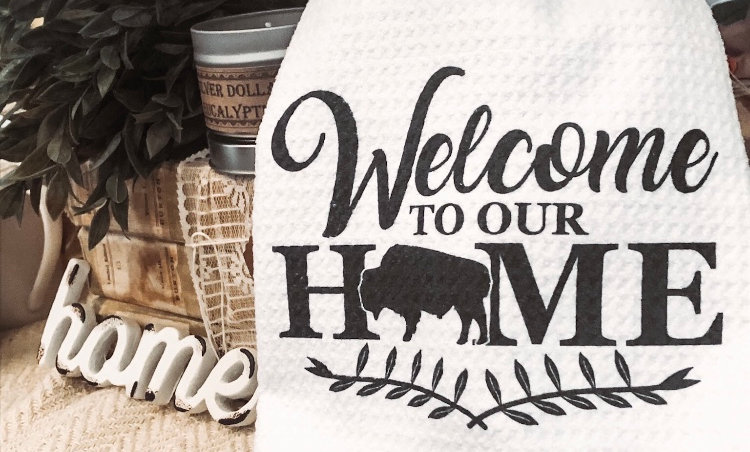 """""""Welcome To Our Home"""" 16x24 Waffle Tea Towel"""