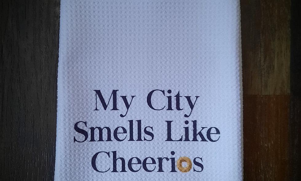"""My City"" Waffle Tea Towel 16x24"