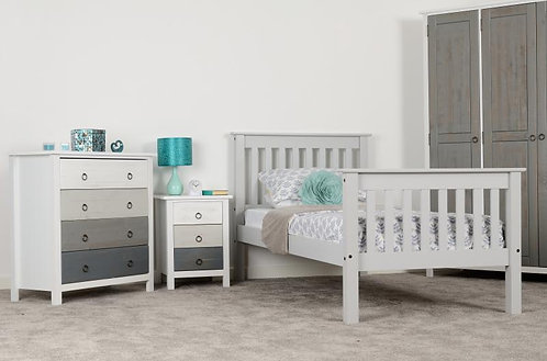 Monaco Single Bed High Foot End in Grey