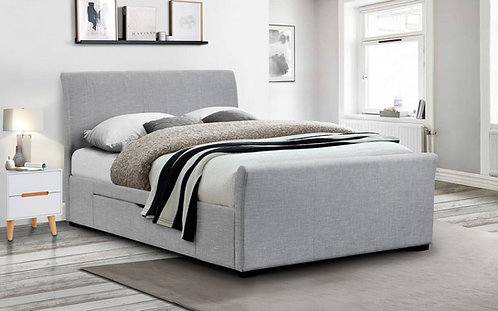 Capri Fabric Bed with 2 Drawers - Grey