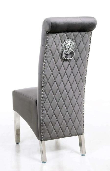 Lucy Grey Lion Knocker Back Chair