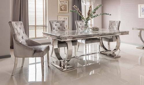 Arianna Grey Marble Dining Table