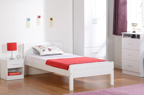 Amber Single Bed in White Pine
