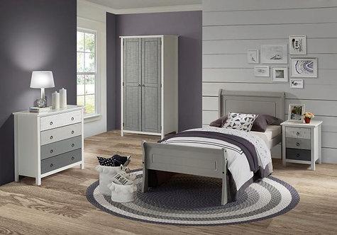 Georgia Single Sleigh Bed in Grey