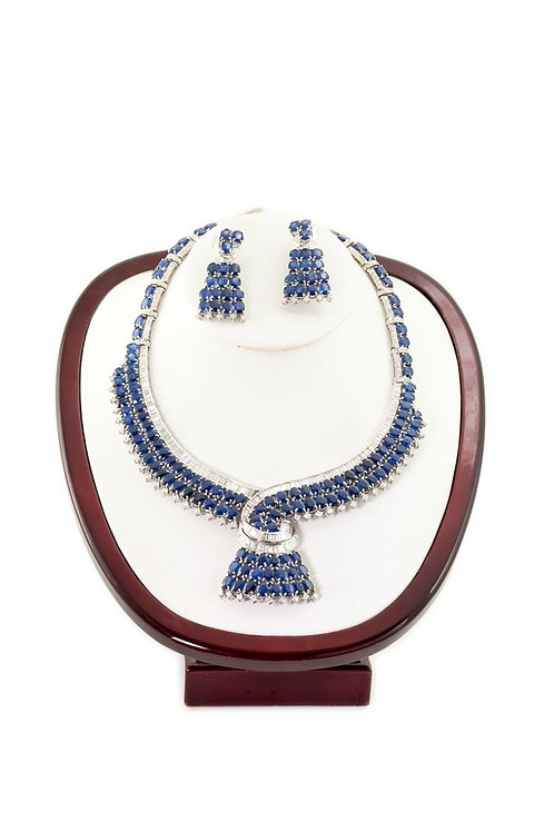 Sapphire Necklace w/ Matching Earrings