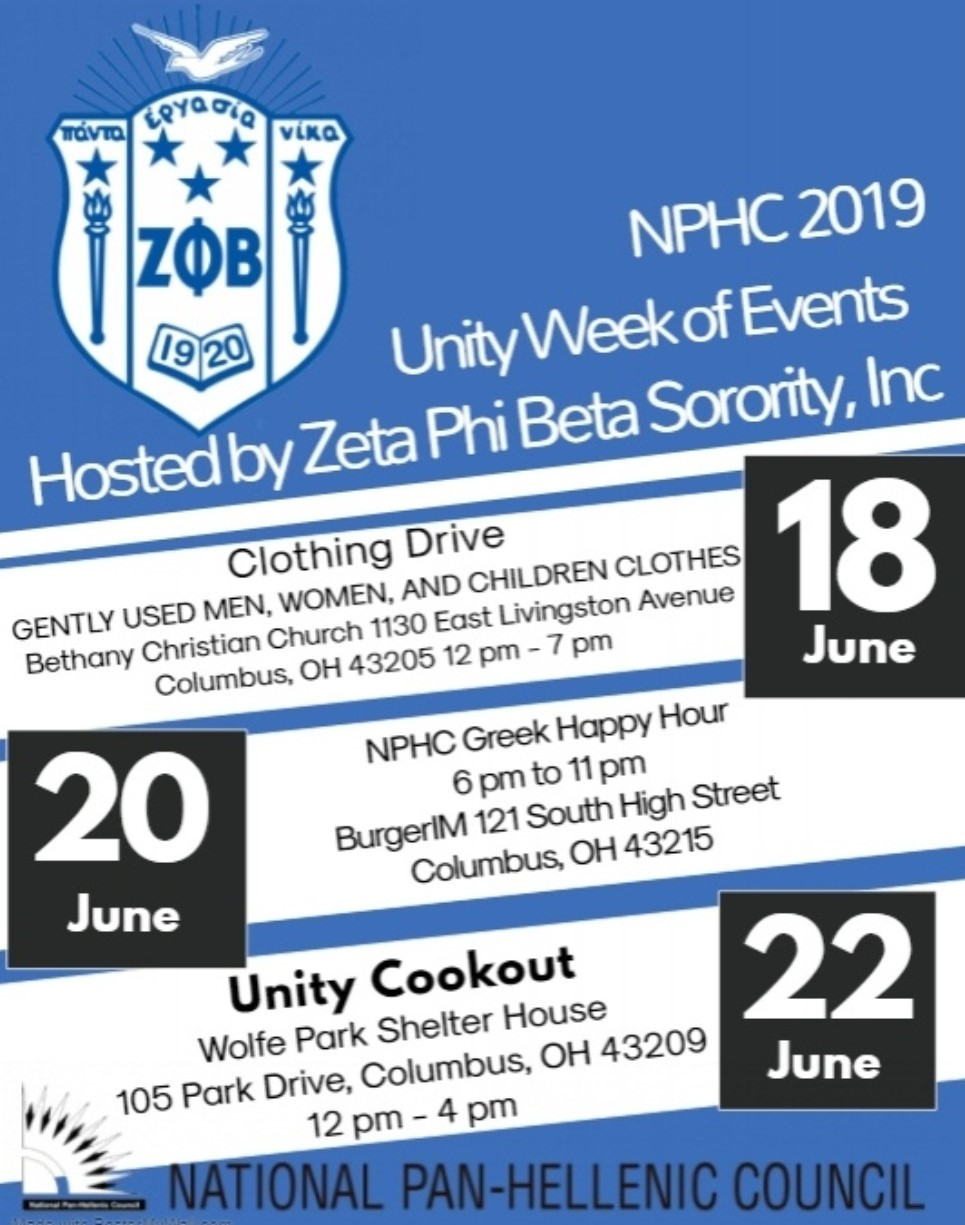 Join us for the Columbus NPHC Unity Weekend hosted by Zeta Phi Beta Sorority, Inc., Gamma Zeta Zeta and Sigma Iota Zeta chapters!