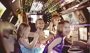 Kids inside a Orlando Limo having fun