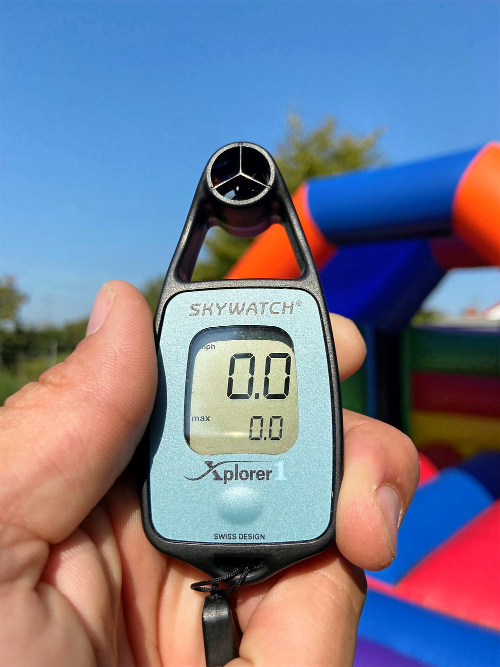 Anemometer used to measure wind speed for safely erecting bouncy castles