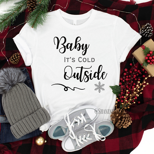 Baby It's Cold Outside White & Grey Tee