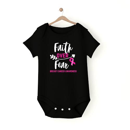 Faith Over Fear Baby Onesie: Breast Cancer Edition