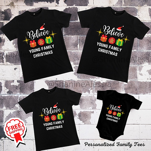 Personalized Family Christmas Believe Shirts