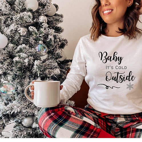 Baby It's Cold Outside White & Grey Long Sleeve Tee