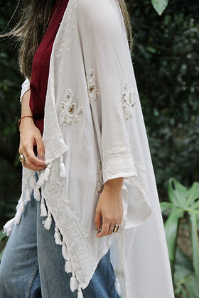Kimono Chal Varanasi Blanco
