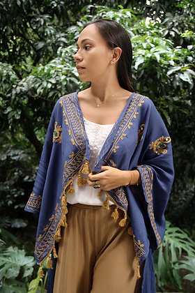 Kimono Chal Varanasi Azul