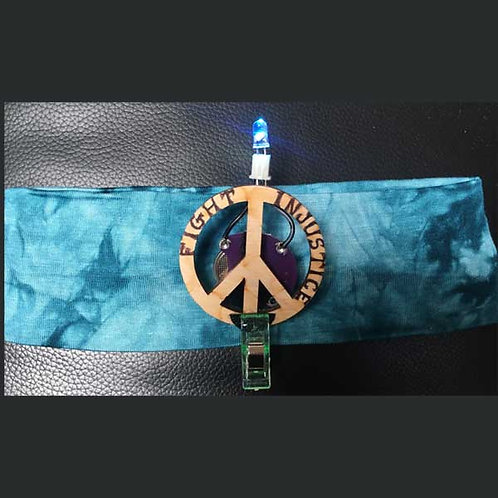 """TEAL Headband 2"""" with Peace Pin and Multi Light"""