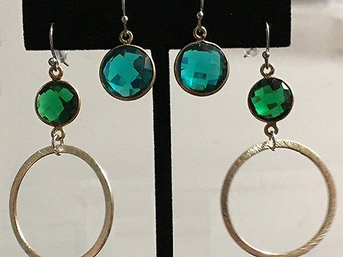 Green Crystal Brushed Metal Hoops / Blue-Green Crystals