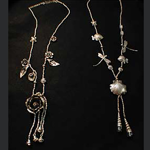 Big Rose and Marine Dance Thai Hilltribe Silver Long Necklaces