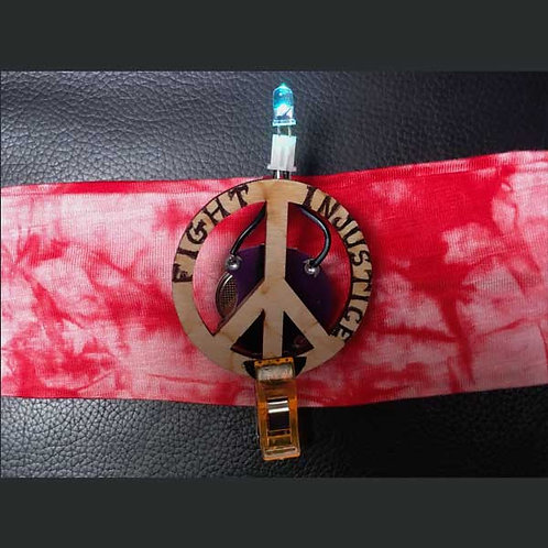 """RED Headband 2"""" with Peace Pin and Multi Light"""