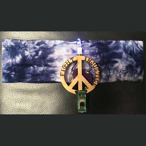 "NAVY BLUE Headband 2"" with Peace Pin and Multi Light"