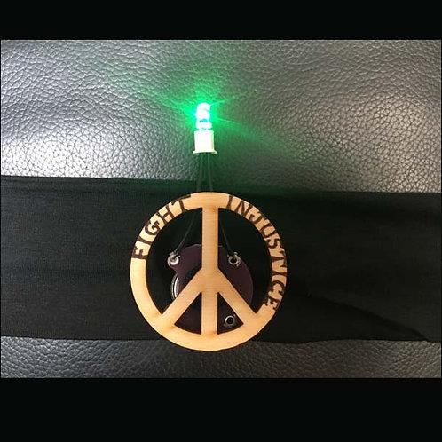 "BLACK Headband 2"" with Peace Pin and Multi Light"