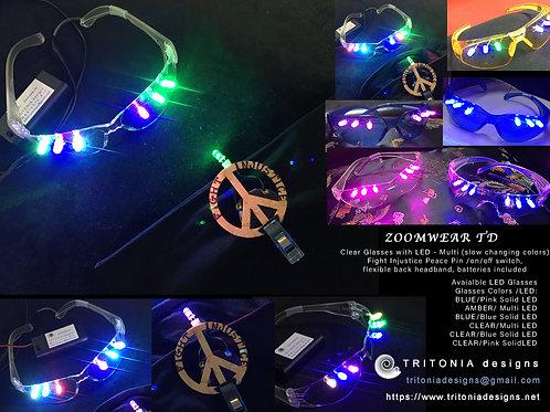 ZoomwearTD Peace Pin, Headband, Glasses - set