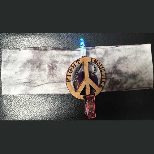 "Light GRAY Headband 2"" with Peace Pin and Multi Light"