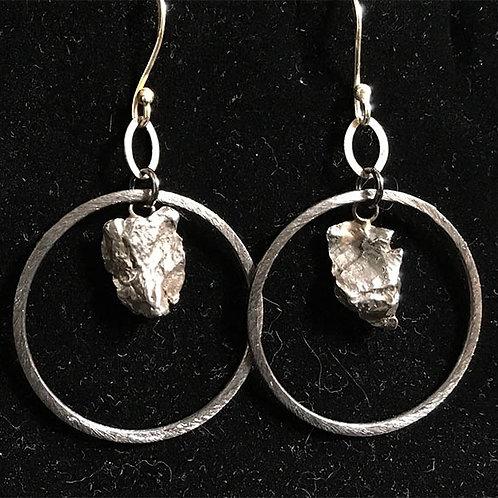 Meteorites with Gunmetal hoops earrings