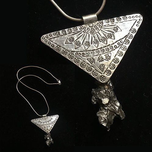 Thai Hilltribe Silver Triangle with Meteorite Necklace