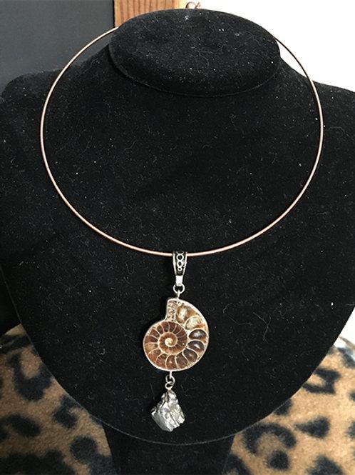 Pendant - Meteorite with Ammonoid on copper collar