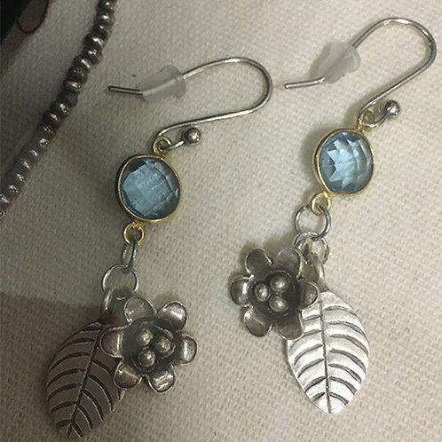 Thai Hilltribe Silver and Blue London Quartz Earrings