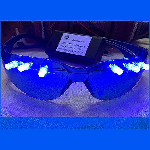 Zoomwear Light-up Glasses Blue / Blue  (solid color lights)