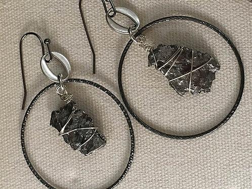 Space Rocks Reign! Meteorite earrings with sliver hoops