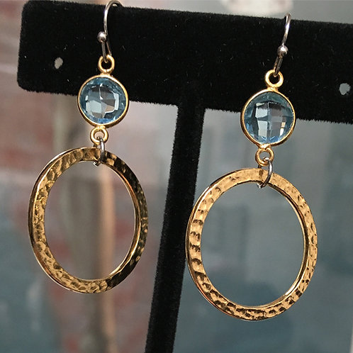 Blue London Quartz with gold plate earrings