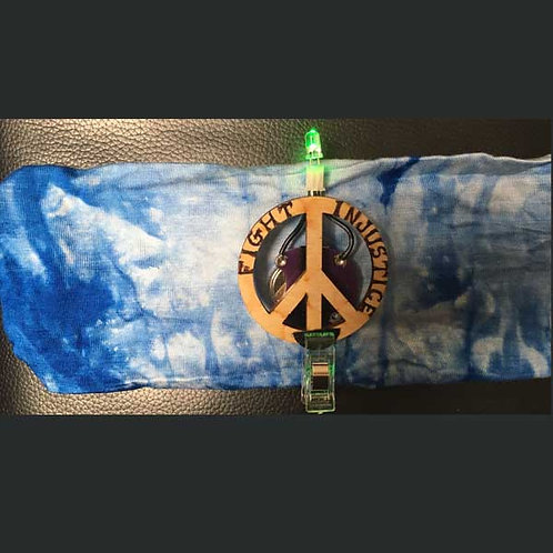 """BLUE Headband 4"""" with Peace Pin and Multi Light"""