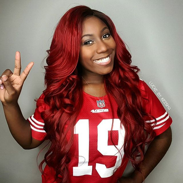 It's Gameday! 😠😍🏈🏈 Today I'm reppin' for babes team!! _campbellboydre _49ers #19 #luckebykeisha
