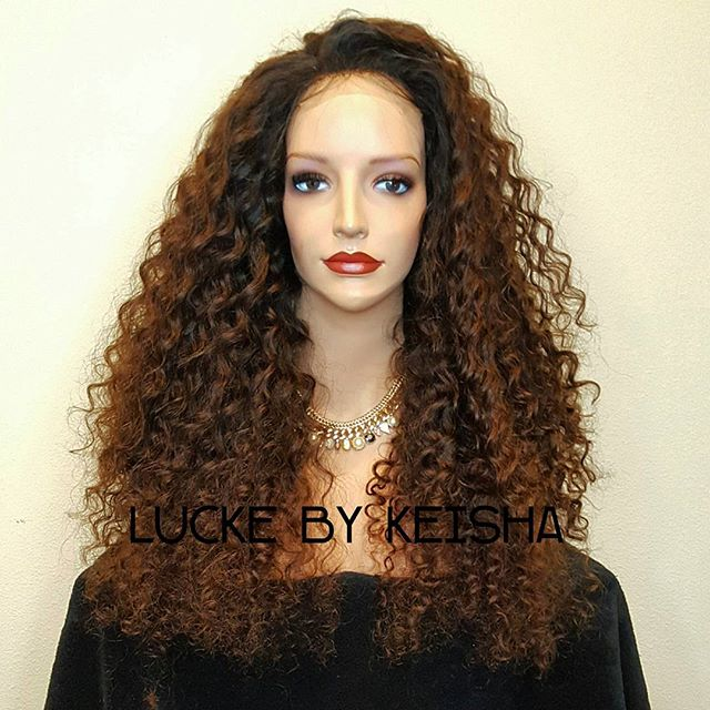 Curly head diva! Custom wig unit. Full unit with lace closure, 24_, 4 bundle, curly, custom color. W