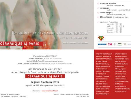 Du 7 au 11 octobre, exposition au salon Céramique 14 à Paris