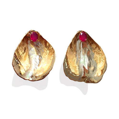 large gold rose petal earrings