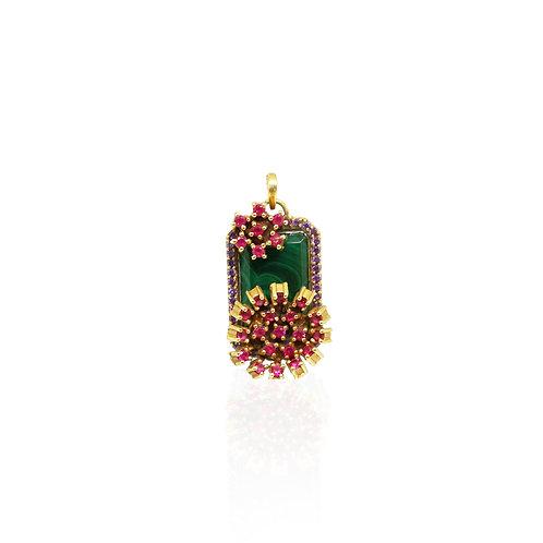 Malachite Flowers Mini Pendant