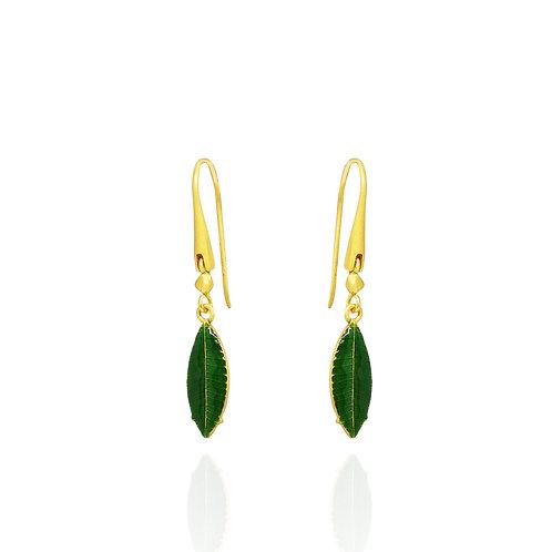 Green enamel small leaf earrings