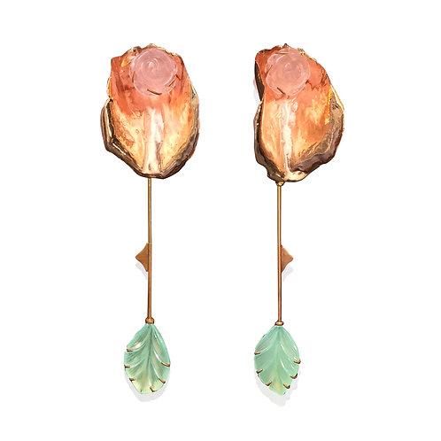 Large Rose Petal Shoulder Sweeping Earrings Set