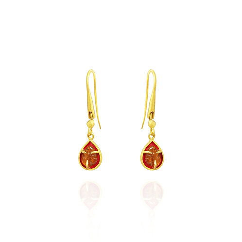 Yellow tourmaline and pink enamel small earrings