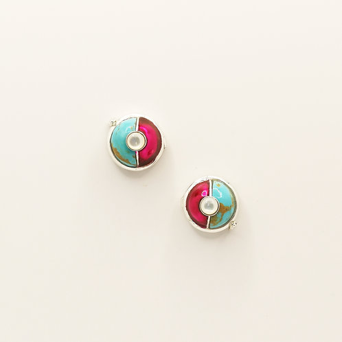 Metallic pink enamel and Turquoise buttons
