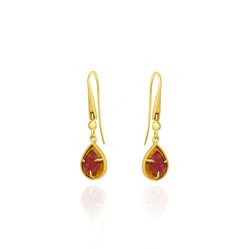 Pink and Gold Tourmaline small hook earrings