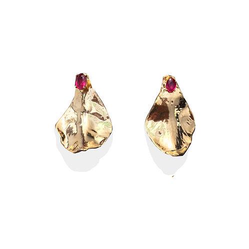Small gold petal earrings