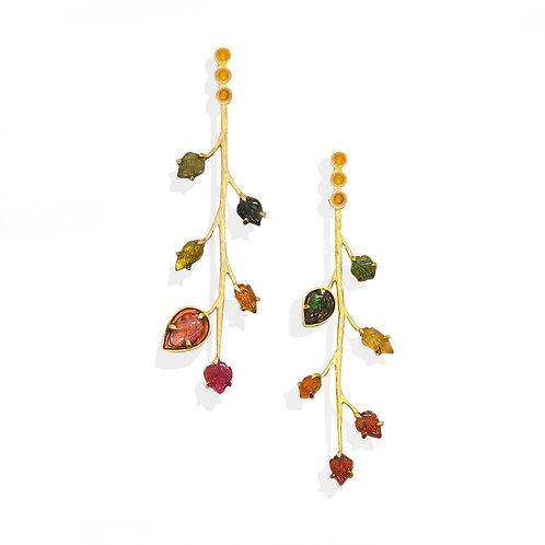 Asymmetric branch Tourmalines earrings