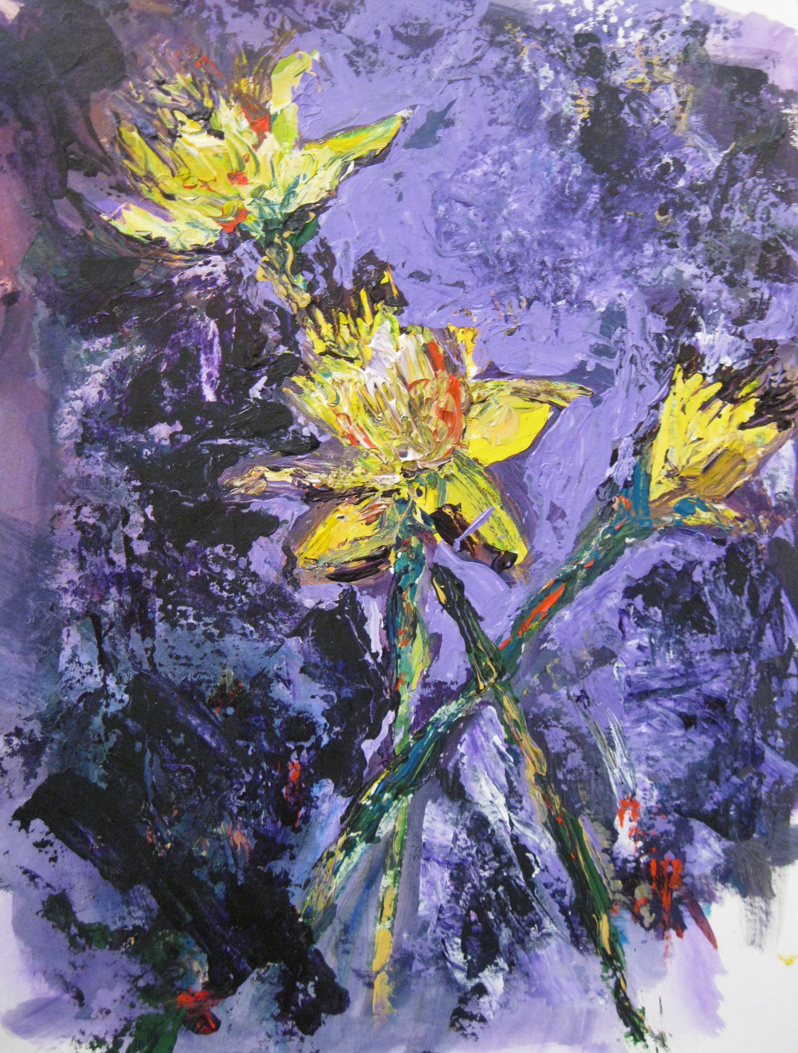 Daffodis on Purple