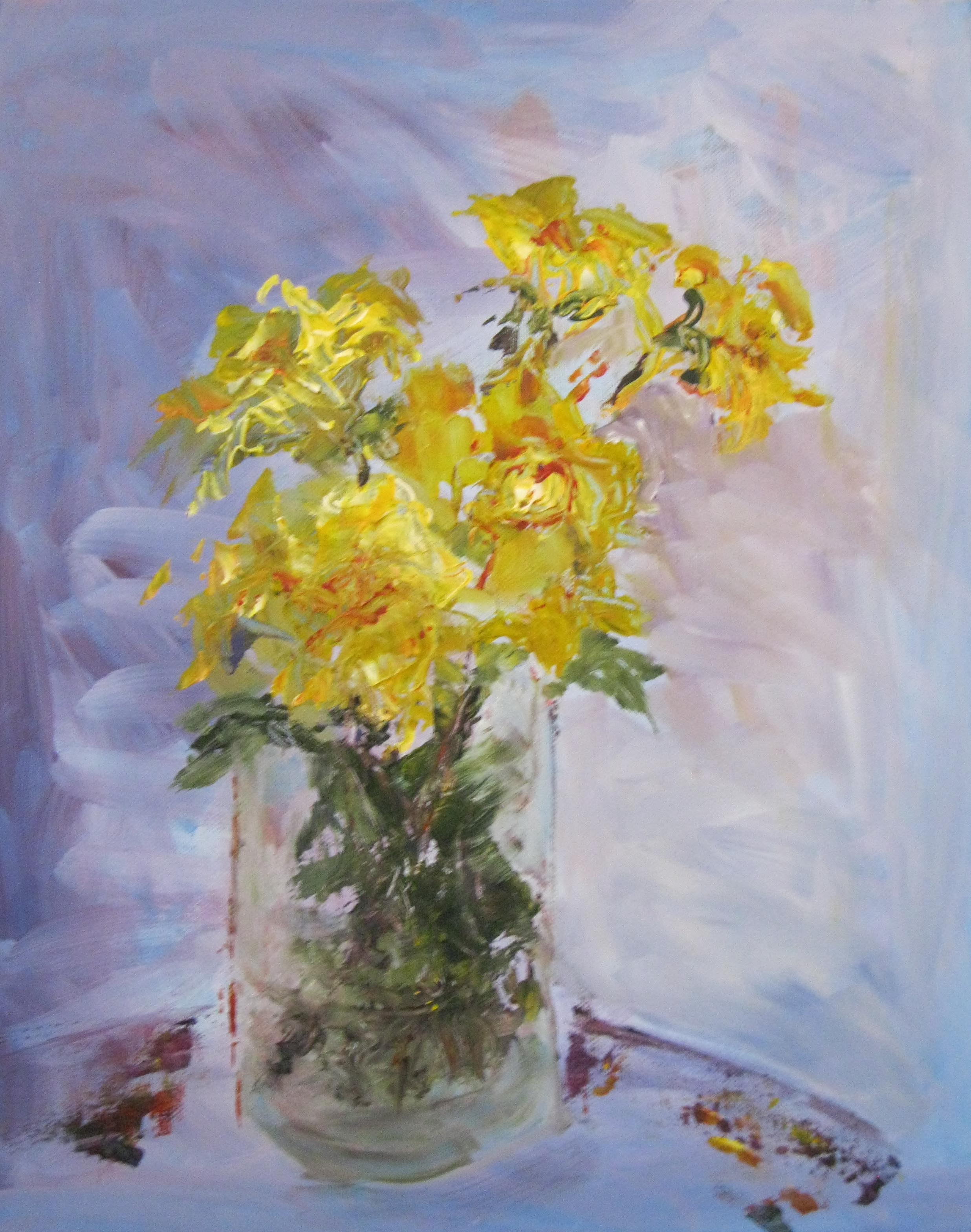 Yellow Roses on Blue