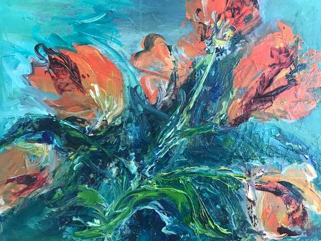 Wild Tulips - oil on panel