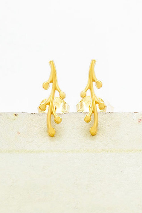 Sterling Silver Mini Coral Branch Stud Earrings